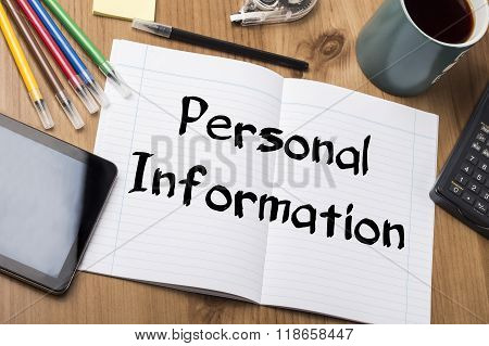 Personal Information - Note Pad With Text