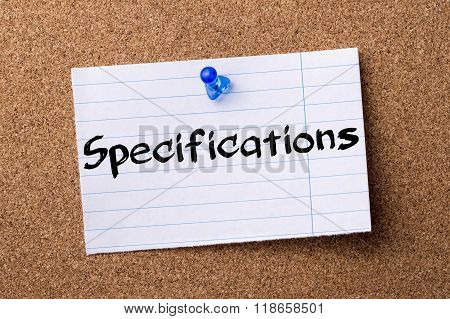 Specifications - Teared Note Paper Pinned On Bulletin Board