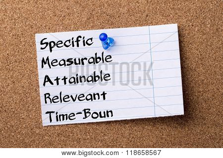 Specific Measurable Attainable Releveant Time-bound Smart - Teared Note Paper Pinned On Bulletin Boa