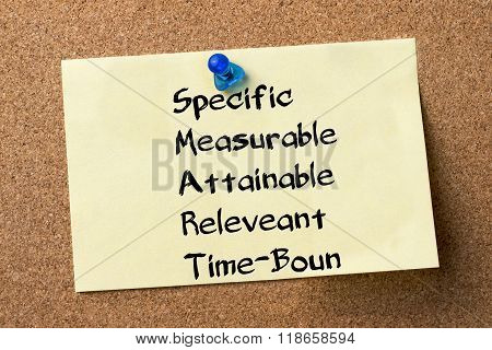 Specific Measurable Attainable Releveant Time-bound Smart - Adhesive Label Pinned On Bulletin Board