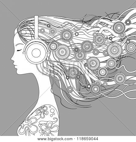 Black and white linear picture on gray background. Girl half-face with loose hair and abstract elements listen to music with head-phones. Vector illustration pattern for coloring book