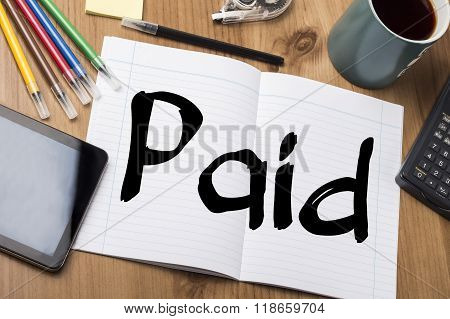 Paid - Note Pad With Text