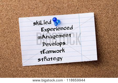 Skilled Experienced Management Develops Teamwork Strategy Leader - Teared Note Paper Pinned On Bulle
