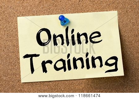 Online Training - Adhesive Label Pinned On Bulletin Board