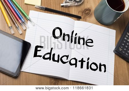 Online Education - Note Pad With Text