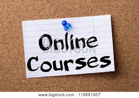 Online Courses - Teared Note Paper Pinned On Bulletin Board