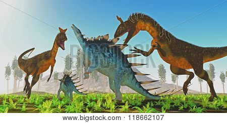 Cryolophosaurus Attacks Kentrosaurus