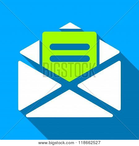 Open Mail Flat Long Shadow Square Icon