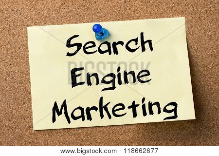 Search Engine Marketing Sem - Adhesive Label Pinned On Bulletin Board