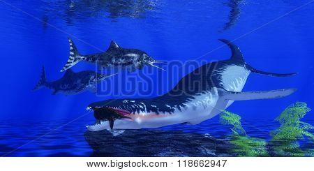 Liopleurodon Catches An Ichthyosaur