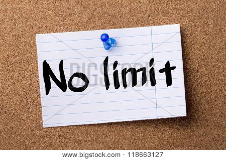 No Limit - Teared Note Paper Pinned On Bulletin Board