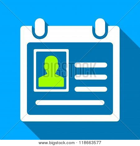 Personal Badge Flat Long Shadow Square Icon