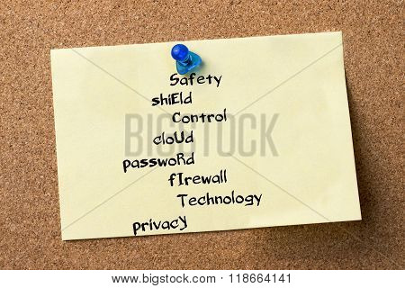 Safety Shield Control Cloud Password Firewall Technology Privacy Security - Adhesive Label Pinned On