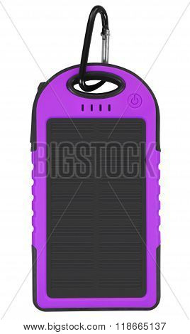 Power Bank With A Solar Panel - Violet