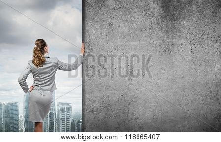 Woman and concrete empty banner