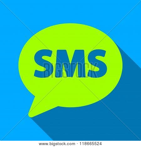 SMS Bubble Flat Long Shadow Square Icon