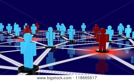 Social Network With Blue Guys And Red Guys Posing As Threats Closeup.