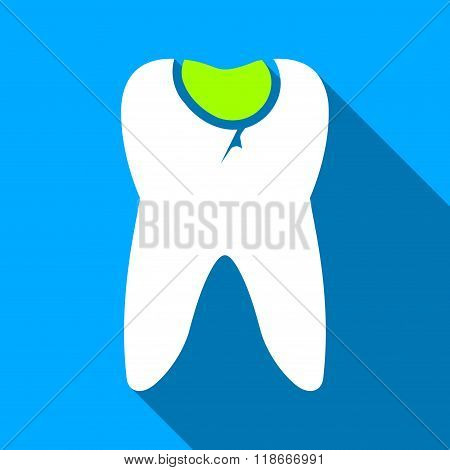 Tooth Caries Flat Long Shadow Square Icon