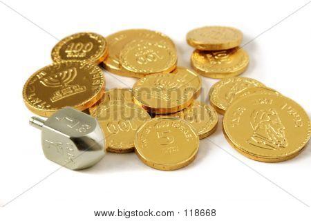 Janucá Dreidel & monedas