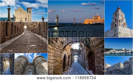 Collage with sightseeing, Rhodes Greece