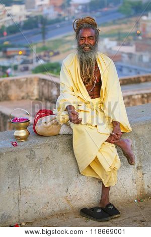 Jaipur, India - November 14: Unidentified Man Sits On A Stone Wall Near Galta Temple On November 14,