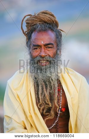 Jaipur, India - November 14: Unidentified Man Sits On A Stone Wall Near Galta Temple On November 14,