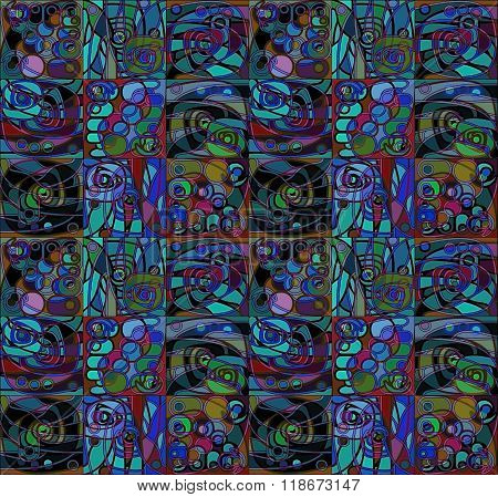 Motley blue and red Geometrical Stylized Pattern