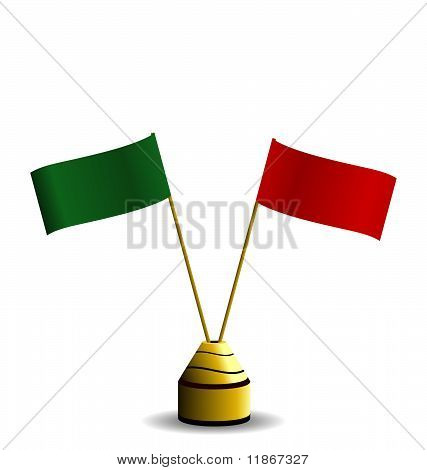 Realistic Illustration The Two Flags Red And Green Colors