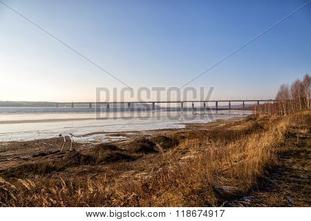 Kineshemsky Bridge Over The River Volga. Kineshma. Russia