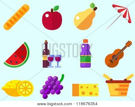 Summer picnic icon: umbrella, guitar, basket with food, fruits, barbecue.