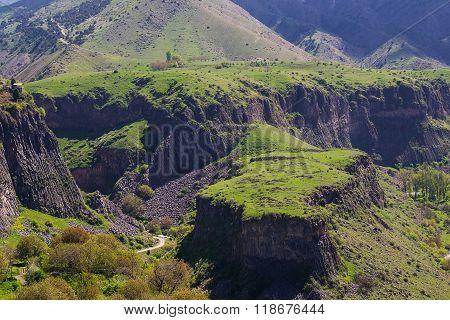Landscape with Green plateau in Garni, Armenia