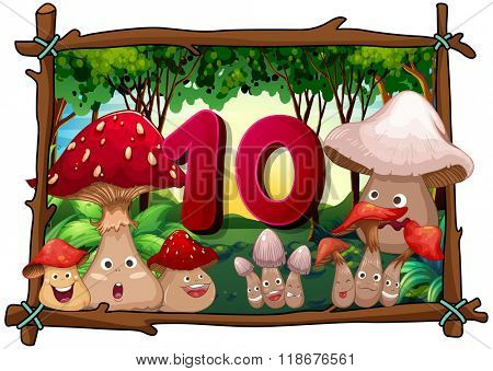 Number ten with 10 mushrooms with faces illustration