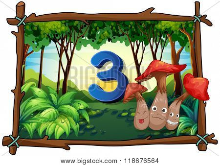 Number three with 3 mushrooms in the forest illustration