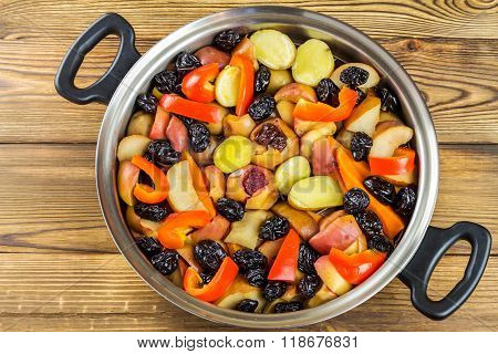 Healthy Food, Colorful Stewed Various Vegetables In Pan, Top View