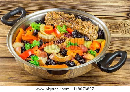 Healthy Food, Stewed Pork Meat With Various Colorful Vegetables In Pan On Wooden Background