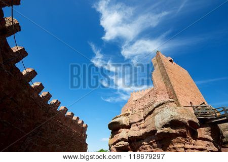 Upper section of Peracense Castle, X-XI centuries, in Teruel province, Aragon, Spain