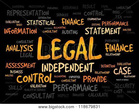 LEGAL word cloud business concept, presentation background