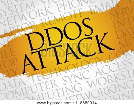 DDOS Attack word cloud concept, presentation background