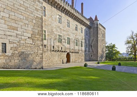 Palace of the Duques of Braganza, a medieval palace and museum in Guimaraes, Portugal. Seen from the public garden. Unesco World Heritage Site.