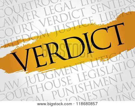 Verdict word cloud collage concept, presentation background