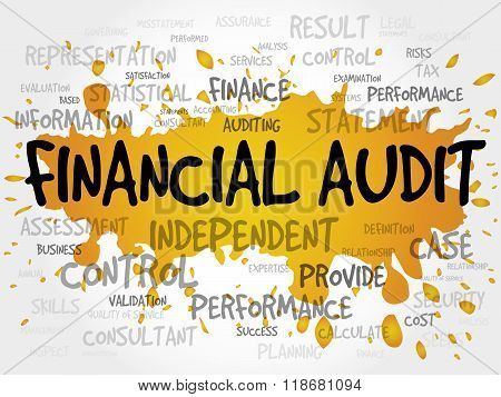 Financial Audit word cloud business concept, presentation background