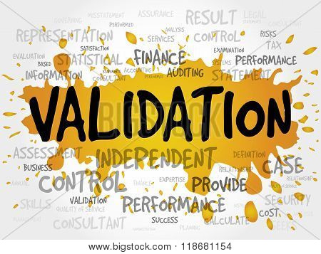 VALIDATION word cloud business concept, presentation background