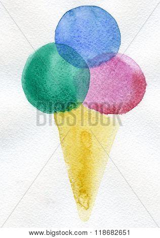 Ice Cream Cornet Wash Drawing