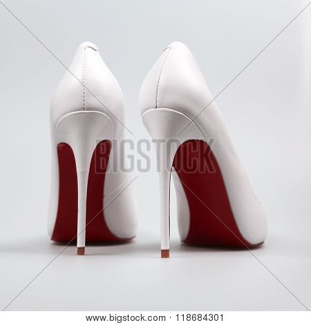Elegant Shoes On The White
