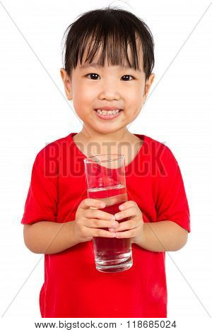 Asian Little Chinese Girl Holding A Cup Of Water