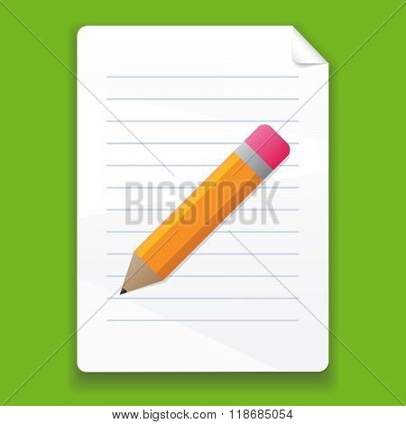 Vector Pencil And A Piece Of Paper On A Green Background