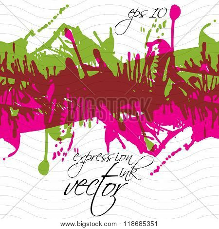 Colorful splattered web design repeat pattern art ink blob multilayered paintbrush drawing. Bright seamless background eps10.