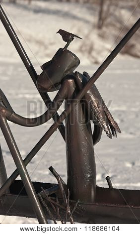 NIZHNY TAGIL, RUSSIA - FEBRUARY 16, 2016: Detail of the sculpture