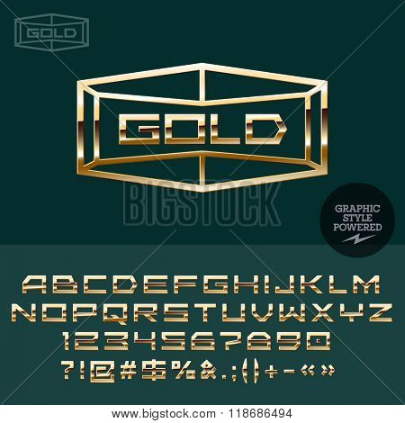 Gold logo for vip club. Vector set of letters, numbers and symbols.