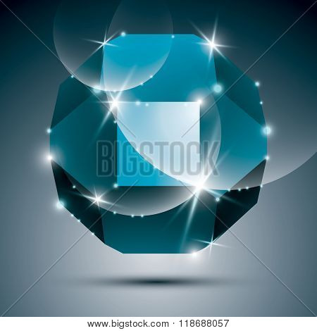 Dimensional Turquoise Sparkling Orb. Vector Dazzling Abstract Illustration - Eps10 Treasure. Celebra
